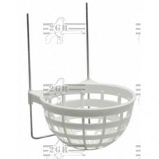 Plastové hniezdo pre kanáriky s drôtenými háčikmi.